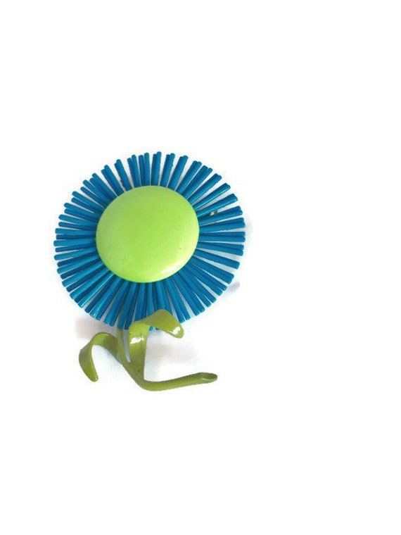 1960's Flower Power Blue Green Enamel Pin or Brooc