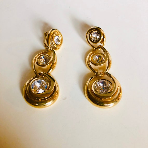Vintage Napier 3 Tiered Crystal Earrings - Napier