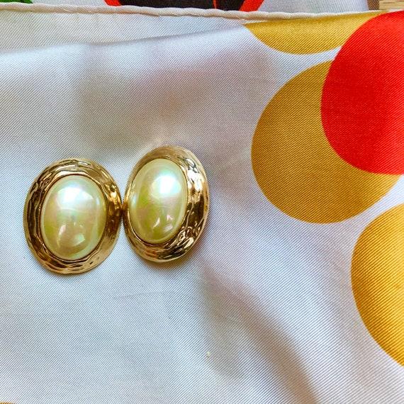 Huge 1980's Imitation Pearl Clip Earrings