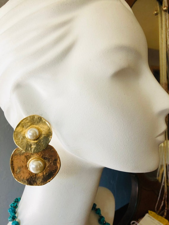 Huge 1980s Earrings With Faux Pearl Cabochons Les