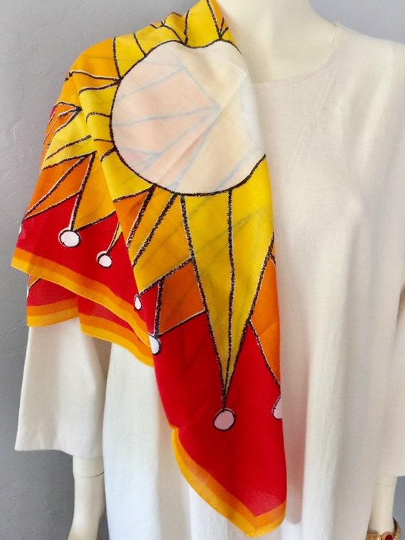 Vera Neumann Cotton Scarf With Sun Design Book Pie