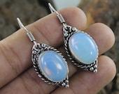 Opalite Gemstone Silver Plated Handmade Earring Gemstone Earrings Jewellery Size 4.4 CM Free Shipping