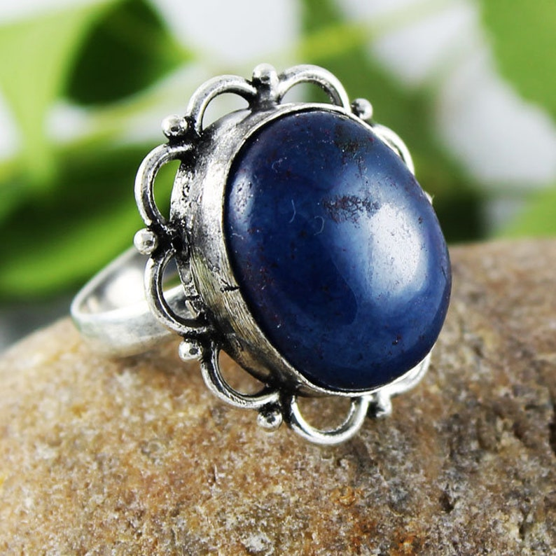Dyed Blue Sapphire Gemstone 925 Silver Overlay Ring 8.5 US Adjustable Jewelry Silver Plated Ring Gemstone Ring Handmade Ring Free Shipping