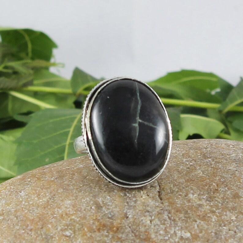 Black Jasper Gemstone 925 Silver Overlay Ring 7.75 US Adjustable Jewelry Silver Plated Ring Gemstone Ring Handmade Ring Free Shipping
