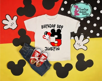 f5e2dd754 Mickey Mouse 3rd Birthday Boy - 3rd Birthday- 3rd birthday shirt kids-  Disney Theme- 3 year old birthday shirt boy- 3- Gift- Personalize