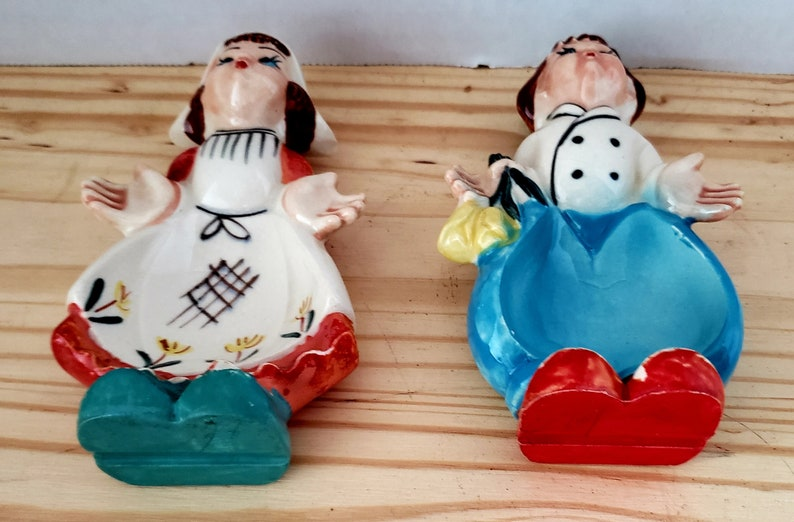 1950s Porcelain Dutch Boy and Girl Kitchen dish