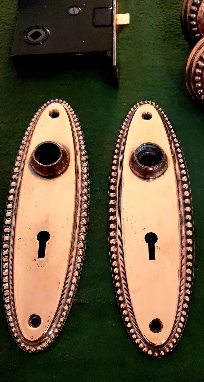 Original 1920/'s Copper Toned Door Knobs and Faceplates