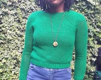 Meshsleeve autumn jumper-Crochet cropped jumper for autumn-Ribbed sleeve and hemline jumper-Cute jumper for women-Custom made cropped jumper