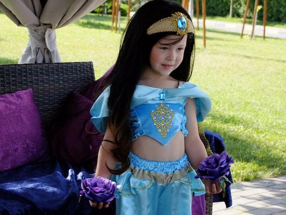 Princess Jasmine costume for girl halloween outfit disney princess aladdin  2019 birthday party cosplay photo prop blue dress jasmin cosplay