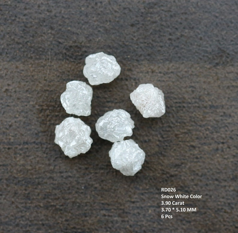 Raw Stone 3.90 Carat Snow White Color Irregular Shape Rough Diamonds 6 pcs