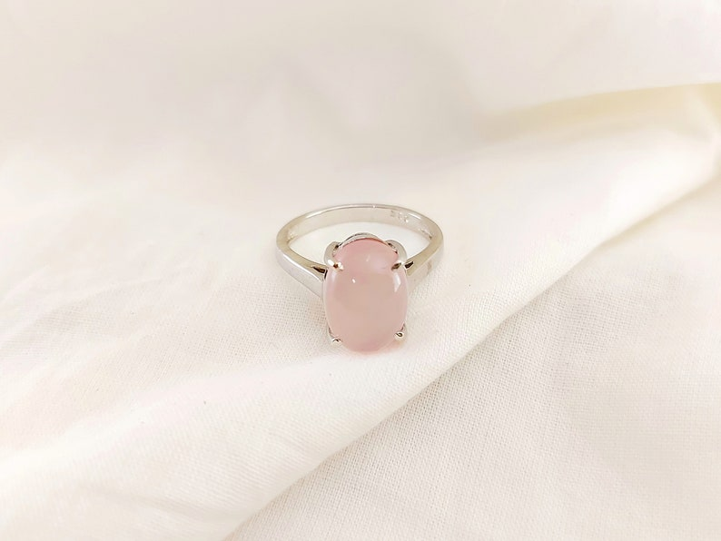 Natural Rose Quartz Ring Statement Dainty Halo Ring Stackable Ring Simple Ring 925 Sterling Silver Minimalist Handmade Ring boho Ring