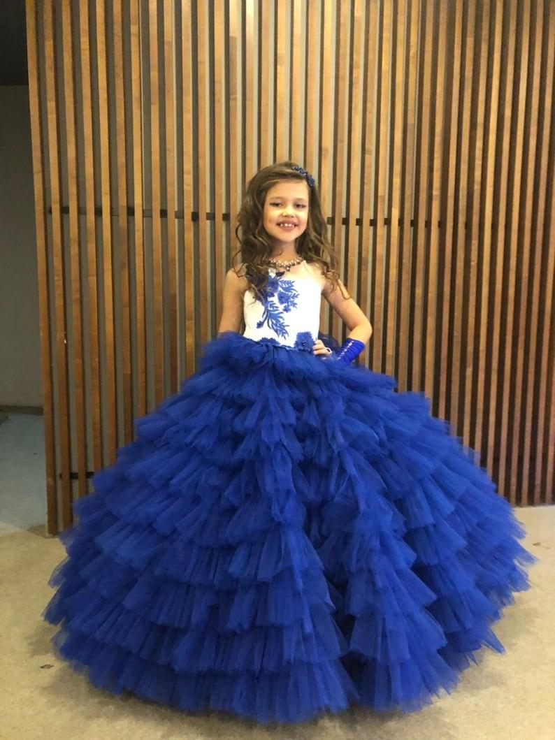 Flower Girl Dress Blue and White Wedding Flower Girl Dress Blue Junior Bridesmaid Dress Baby Dress Handmade Lace Wedding Girl Dress Birthday