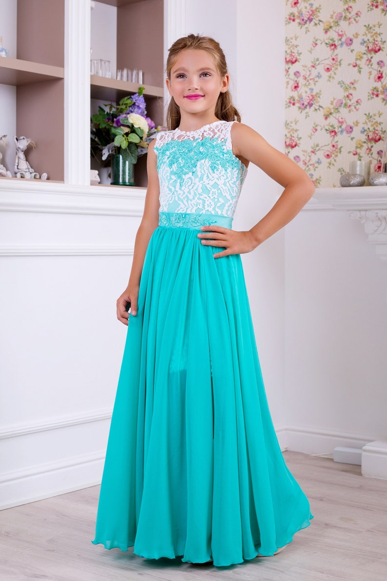 6984e80ab162 White lace dress Turquoise and Light Pink Lace girl dress