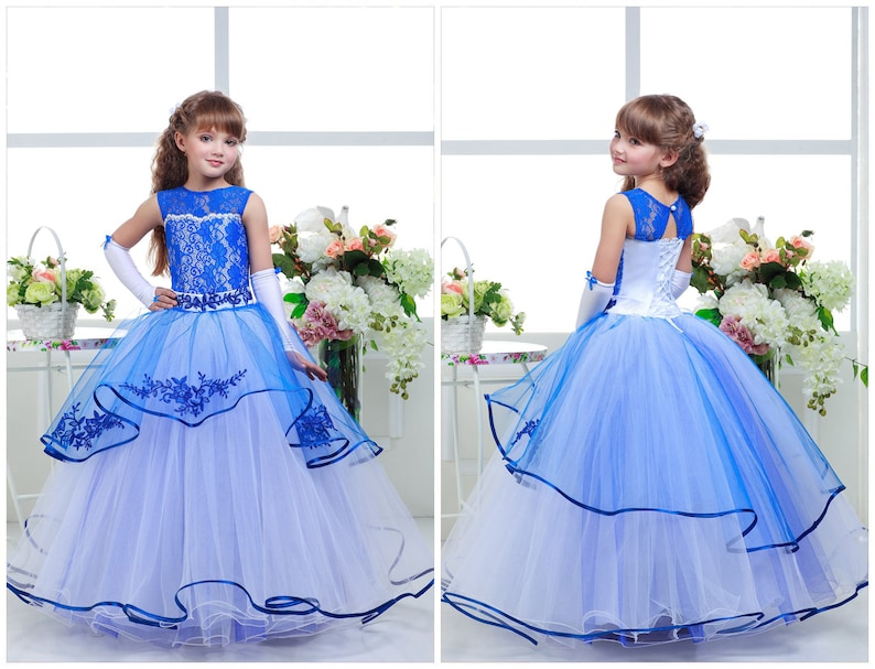 3ff0e621c Blue Girl Dress and White Birthday Wedding Party Holiday