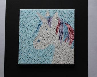 Dottyart unicorn original canvas painting.
