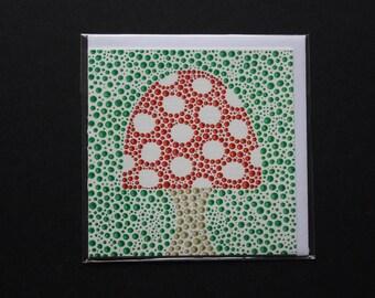 Toadstool dottyart blank card.