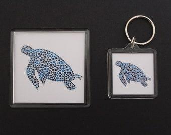 Turtle dottyart keyring and magnet set.