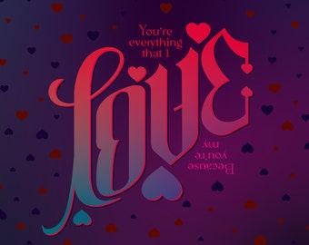 Baby Love Ambigram - Greeting Card