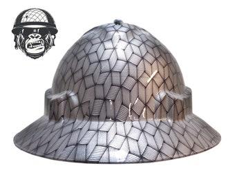 Custom Hydrographic Wide Brim Safety Hard Silver Skulls VIBE WIDE