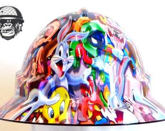 Custom Hydrographic Wide Brim Safety Hard Hat AQUA WIDE