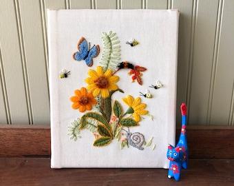 Vintage 8x10 Yarn Crewel Garden Scene Flowers Snail Bees Butterfly
