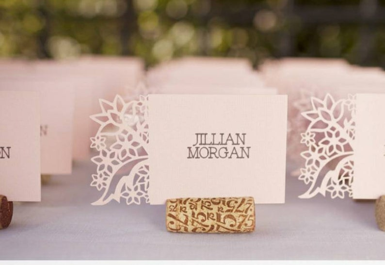 Pretty Place Cards on Wine Corks