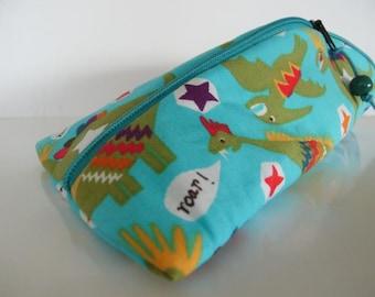Pencil case triangle-round PUNK-DINOS for children