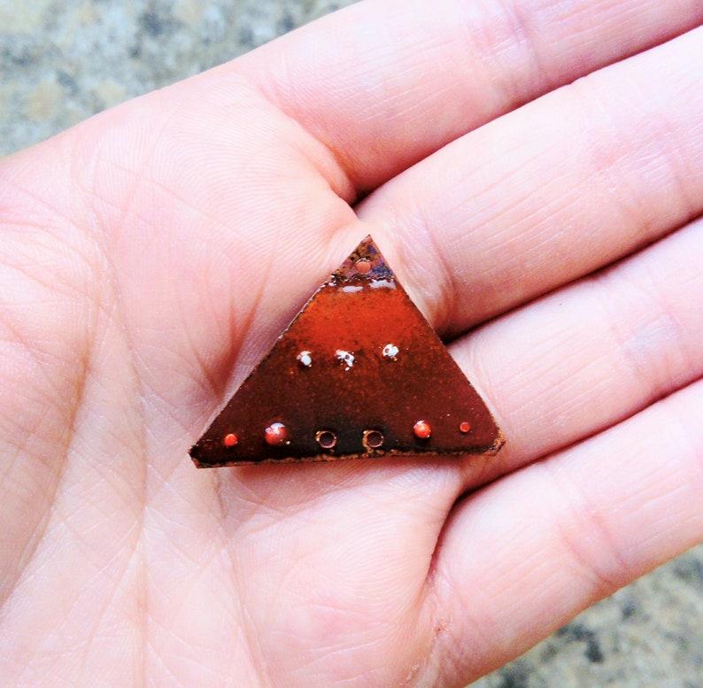Pendant in enamelled copper copper enameled pendant handmade charm ethnic pendant triangle pendant brass pendants