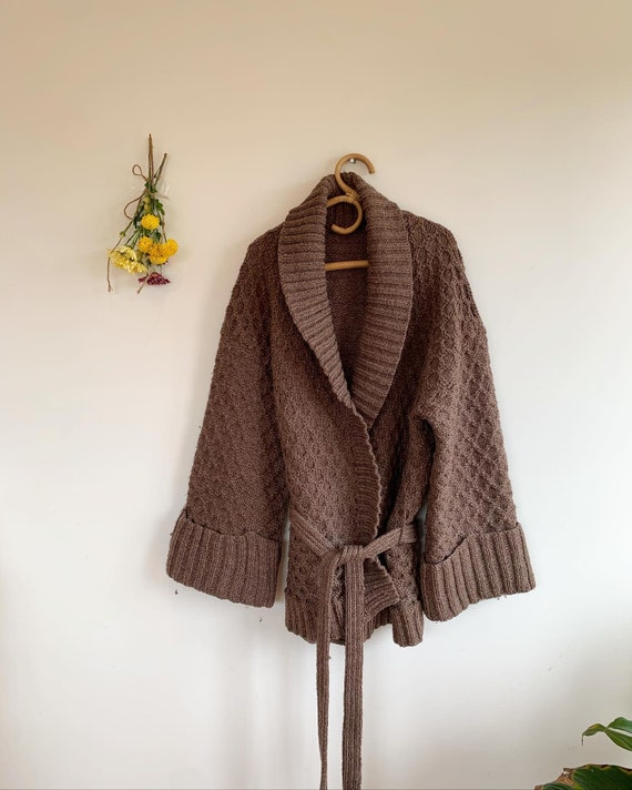 Oversized Wool Robe tie up Cardigan
