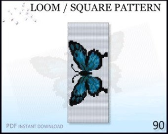 Beadwoven DIY Gift Blue Butterfly Beaded Embroidery Schemes Cross Stitch with Beads in Canvas Miyuki Round Beads Loom Pattern No.120