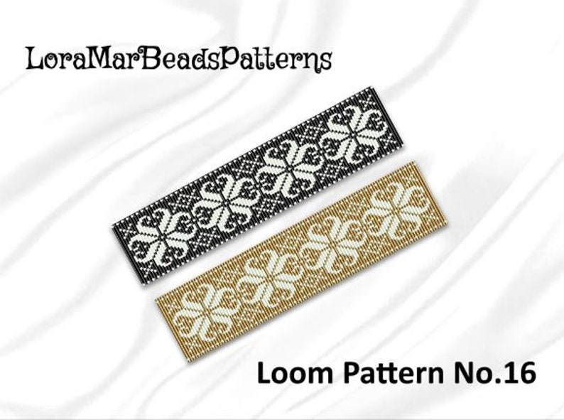 Beads Loom Pattern No 16 - Two Color Palettes- Ice Flowers Baltic Ornament  Beaded Bracelet Pattern- White, Black, Gold Loom Stitch Pattern