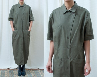 a377b2b5 80s green linen maxi shirt dress large   olive green short sleeve collared  long dress   minimalist market dress   minimal button down dress