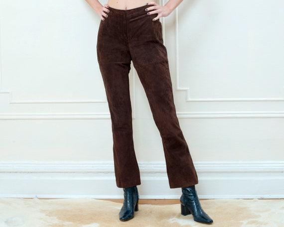 Vintage Designer Brown Suede High Waisted Pants Size 46  JEKEL Paris Brown Lamb Suede Pants  Made in France Size 40 Designer Pants