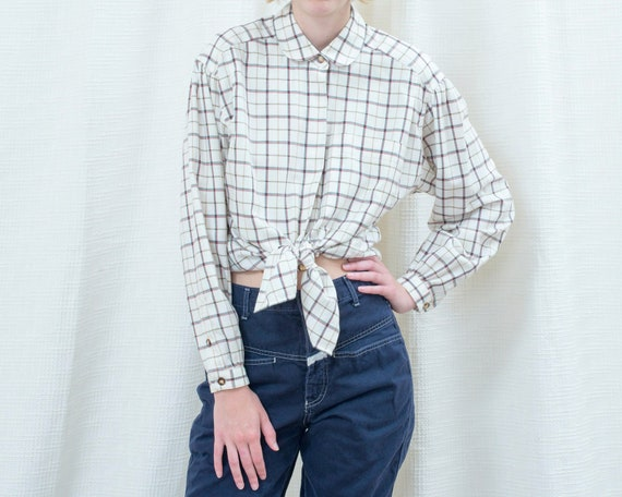 80s white plaid peter pan collar flannel blouse  