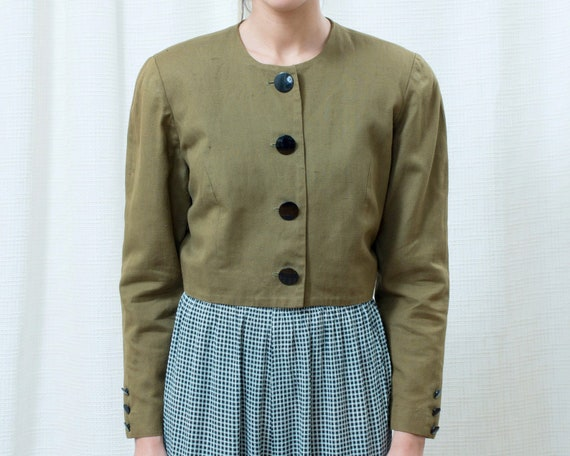 80s green cropped power suit blazer small | linen