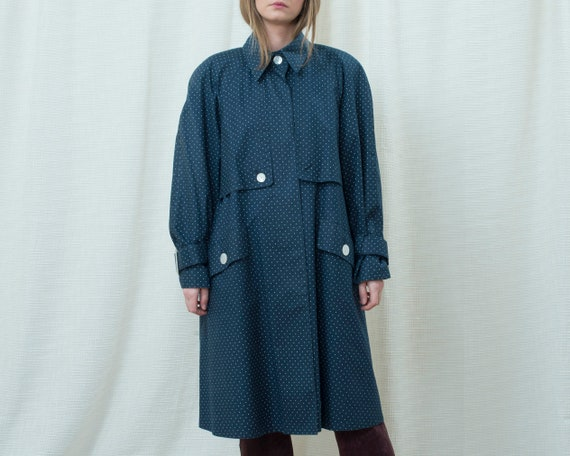 70s navy polka dot trench coat medium | dark blue