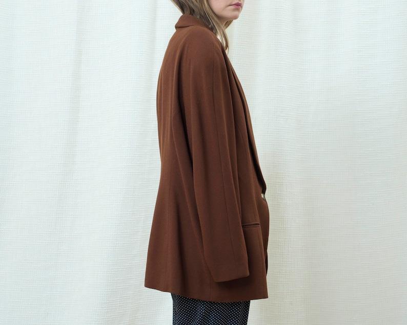 chocolate brown minimal oversized shawl collar round shoulder blazer 80s brown power suit blazer large minimalist big shoulder blazer
