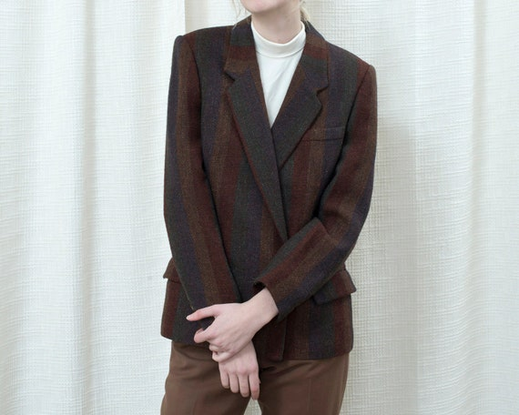 80s brown striped wool blazer large | rust stripe
