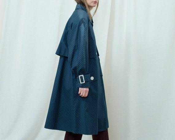 70s navy polka dot trench coat medium | dark blue… - image 5