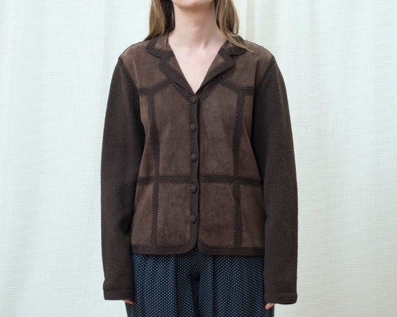 70s brown suede patchwork cardigan sweater large |