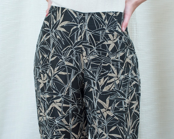 90s navy silk printed pants 31 waist | large leaf… - image 2