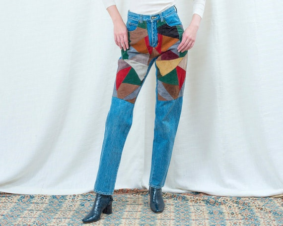 80s suede patchwork jeans 28 waist | small high wa
