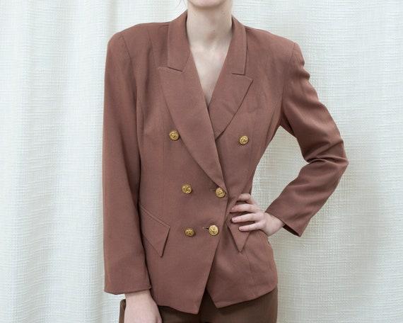 80s brown power suit jacket medium | light brown b