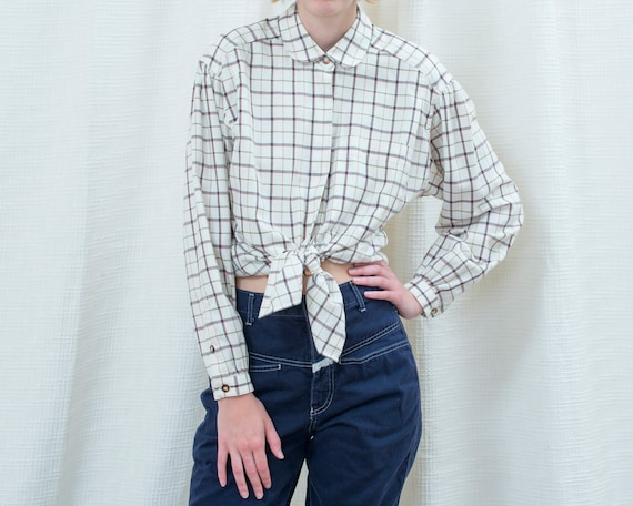 80s white plaid peter pan collar flannel blouse |