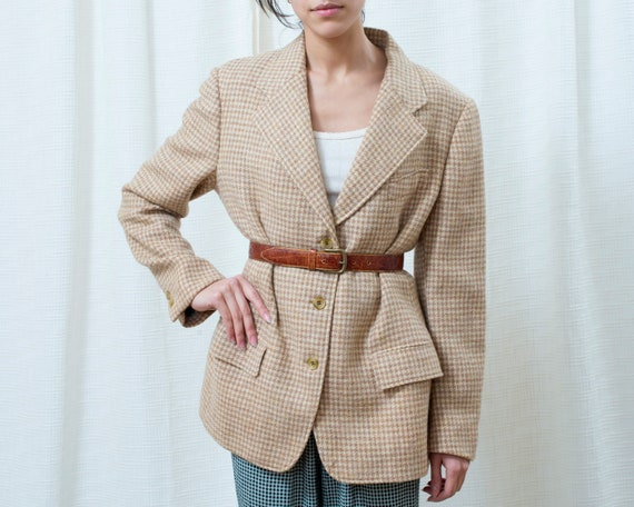 80s tan houndstooth wool power suit blazer large |