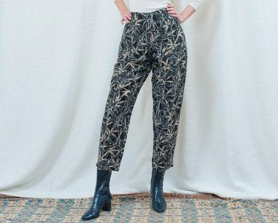 90s navy silk printed pants 31 waist | large leaf… - image 1