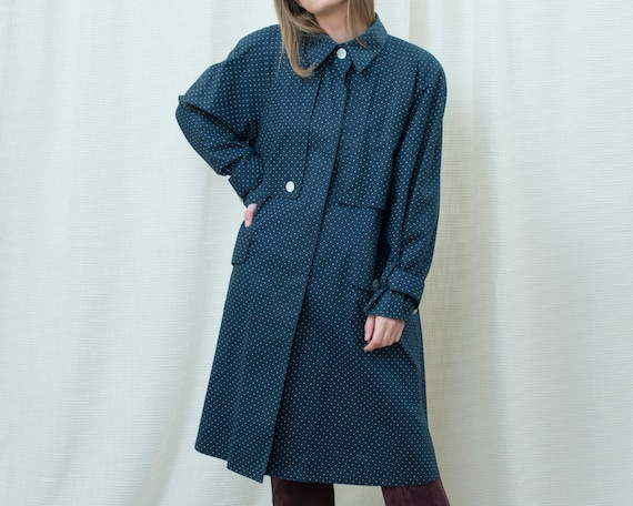 70s navy polka dot trench coat medium | dark blue… - image 7