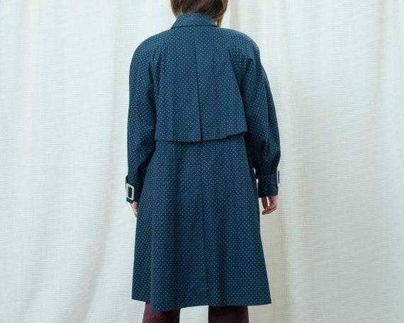 70s navy polka dot trench coat medium | dark blue… - image 6