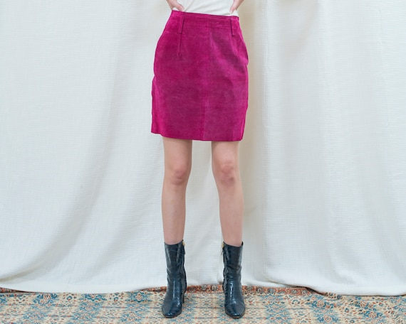 80s fuchsia suede mini skirt 27 waist | purple sue