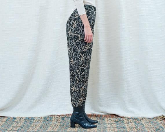 90s navy silk printed pants 31 waist | large leaf… - image 5